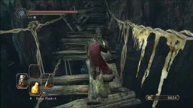Cuidado com os buracos na ponte - Huntsmans Bosque - o caminho para o Purgatório Mortos-Vivos - Detonado - Dark Souls II - Guia do Jogo e Passo a passo