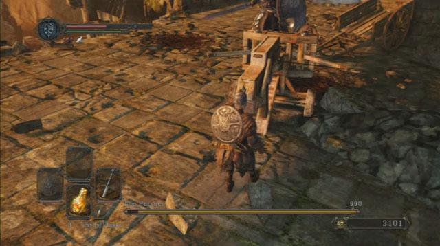 Use a balista.  - O perseguidor - Como derrotar um chefe - Dark Souls II - Guia do Jogo e Passo a passo