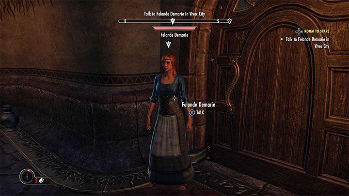 Забота о квесте, описанном выше, позволит вам встретиться с Felande Demarie, который хочет дать герою комнату в таверне бесплатно - ESO: собственный дом, собственность - как купить? - Руководство по игре - Онлайн руководство The Elder Scrolls