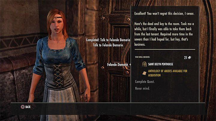 После того, как все ваши разговоры с Felande будут завершены, вы получите бесплатную комнату, которую можно рассматривать как ваш собственный дом - ESO: собственный дом, собственность - как купить? - Руководство по игре - Онлайн руководство The Elder Scrolls
