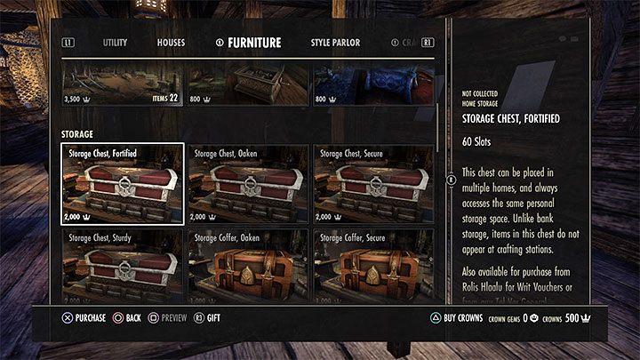 Как и в предыдущих частях серии The Elder Scrolls, вы также можете хранить ненужные предметы из своего инвентаря в своих домах - ESO: собственный дом, собственность - как купить? - Руководство по игре - Онлайн руководство The Elder Scrolls