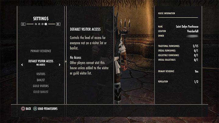 Во время вашего пребывания в вашем доме вы можете перейти на вкладку «Настройки», чтобы задать наиболее важные для него вещи - ESO: собственный дом, недвижимость - как купить? - Руководство по игре - Онлайн руководство The Elder Scrolls