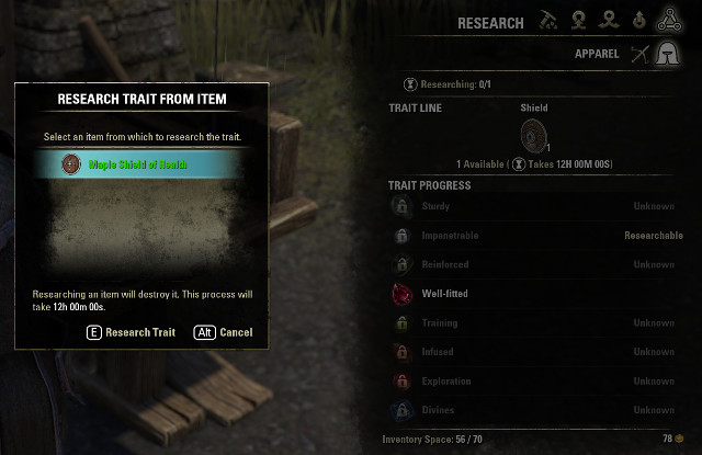 Trait discovery for Woodworking. - Traits | Provisioning - Provisioning - The Elder Scrolls Online Game Guide