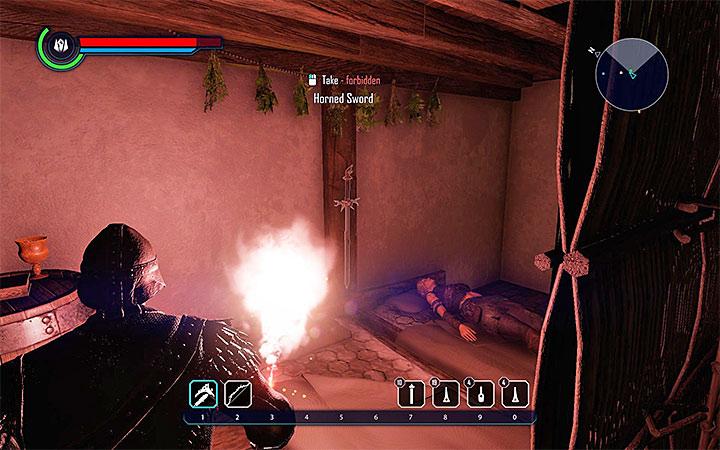 Horned Sword cuelga de una de las paredes de la casa de los Angrims, que se encuentra en Goliet (la imagen). ¿Dónde encontrar mejores armas al principio?  - Preguntas frecuentes - Elex Game Guide