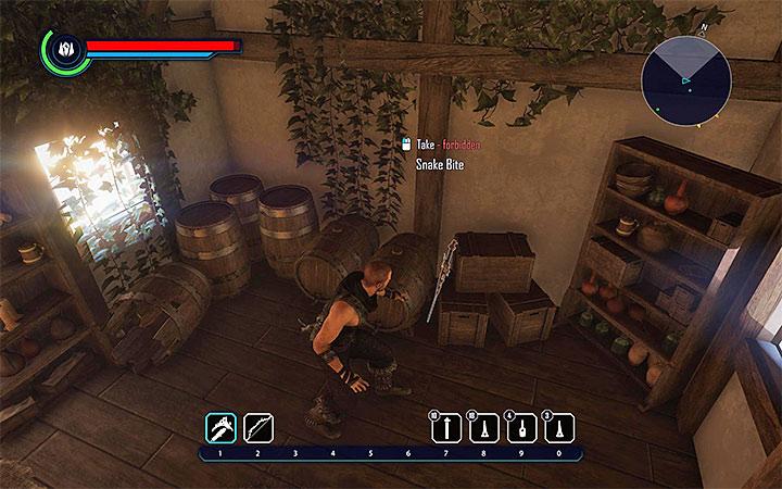De forma similar a Horned Sword, descrita anteriormente, la espada de Snake Bite también puede ser robada de una de las casas en Goliet (el arma se presenta en la imagen). ¿Dónde encontrar mejores armas al principio?  - Preguntas frecuentes - Elex Game Guide