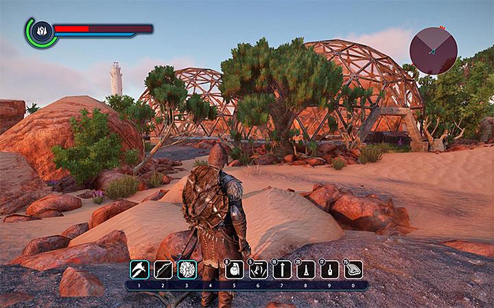 Chainsaber está dentro de una de las pequeñas cúpulas, presentadas en la imagen, que están al sur de The Fort (la sede de Outlaws) en Tavar. ¿Dónde encontrar mejores armas al principio?  - Preguntas frecuentes - Elex Game Guide