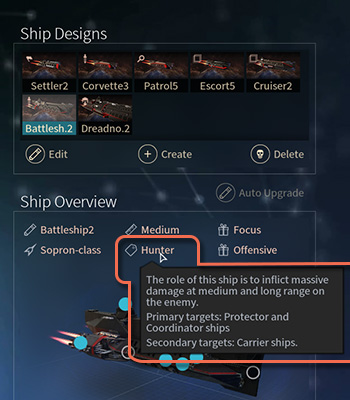 Some ships have assigned roles that have impact on how they behave during a battle. - Roles and types of ships in Endless Space 2 - Fleet and Army - Endless Space 2 Game Guide