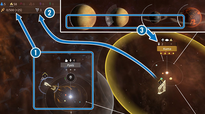 The Essence is the special resource of the Vodyani; it can be harvested from other inhabitants (1). In the right upper corner, youll find the number of Arks available in your empire (2). Remember that every Ark resident works on all available planets (3). - The Vodyani Race in Endless Space 2 - Races - Endless Space 2 Game Guide