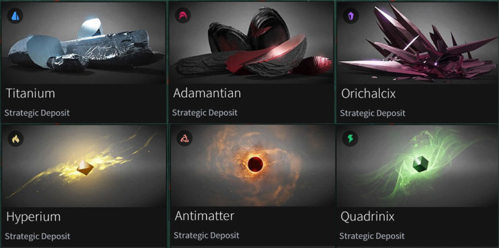6 main strategic resources. The most commonly used are the two from the first column while Orichalcix and Quadrinix are very rare. - Strategic and luxury resources in Endless Space 2 - Gameplay basics - Endless Space 2 Game Guide