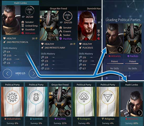 Hadri Lenko, apart from running different systems and fleet, also runs his party - the Militarists. The Party currently holds the power, but Hadri has no skill to take advantage of this. - Heroes in Endless Space 2 - Gameplay basics - Endless Space 2 Game Guide