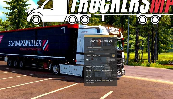 The first screen you see after launching the game lets you log in to your account: enter your data from TruckersMP and select an available server - TruckersMP application for Euro Truck Simulator 2 - Multiplayer - Euro Truck Simulator 2 Game Guide