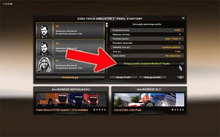 Merging your in-game profile with your online account - click on Connect Profile to the World of Trucks button in the character selection screen - Online account and World of Trucks account in Euro Truck 2 | First steps - Multiplayer - Euro Truck Simulator 2 Game Guide
