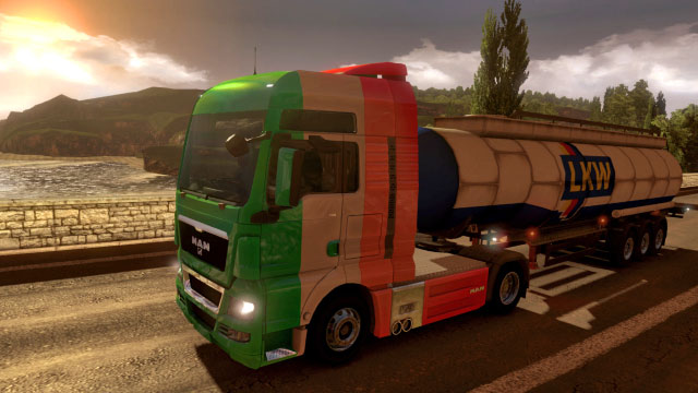 This add-on gives you four additional paint jobs in the United Kingdom colors - Official add-ons - DLC in Euro Truck 2 - First steps - Euro Truck Simulator 2 Game Guide