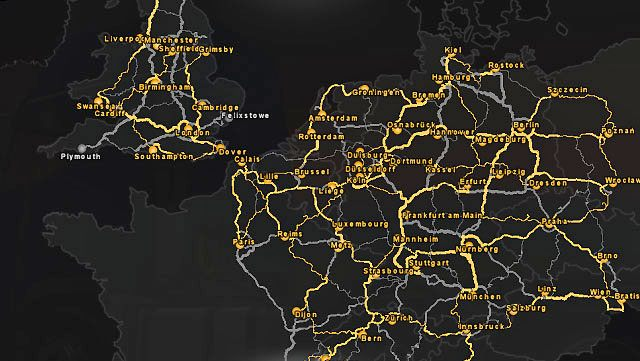 The widest map allows you for checking which cities have you explored - World of the game | Euro Truck 2 Map - Map - Euro Truck Simulator 2 Game Guide