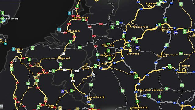 The middle map allows for planning a trip - World of the game | Euro Truck 2 Map - Map - Euro Truck Simulator 2 Game Guide