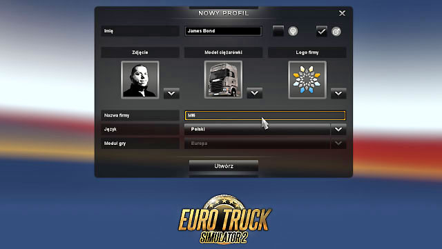 At the beginning create your profile, therefore select name, sex, company logo, photo (numerous to choose from), truck model and your companys name - Player profile - First steps - Euro Truck Simulator 2 - Game Guide and Walkthrough