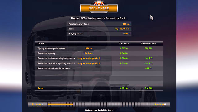 By completing order you earn money and gain experience points (EXP) - Experience | Driver - Driver - Euro Truck Simulator 2 Game Guide