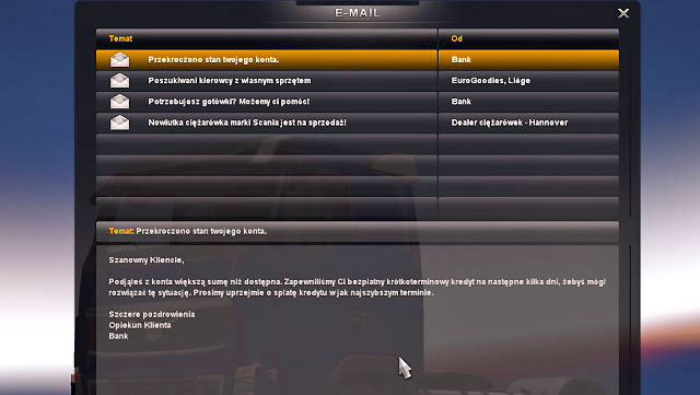 Your account balance can be negative - Debt - Bank - Euro Truck Simulator 2 - Game Guide and Walkthrough