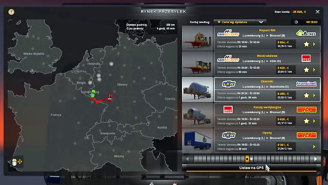 The consignment market is similar to quick orders, but now you have your own truck - Consignment | Job market - Job market - Euro Truck Simulator 2 Game Guide