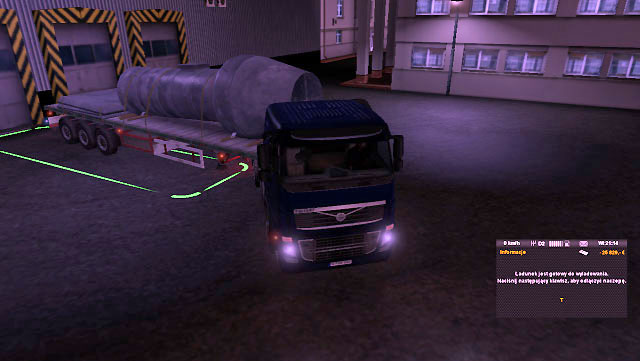 When you get to the destination place, park the trailer in the indicated place, but this time you do not have to be so precise - Consignment - Job market - Euro Truck Simulator 2 - Game Guide and Walkthrough