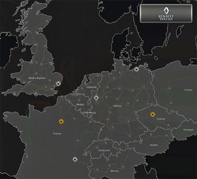 Renault trucks are offered in six cities - Truck dealers: Renault (Map) | Truck dealers - Truck dealers - Euro Truck Simulator 2 Game Guide