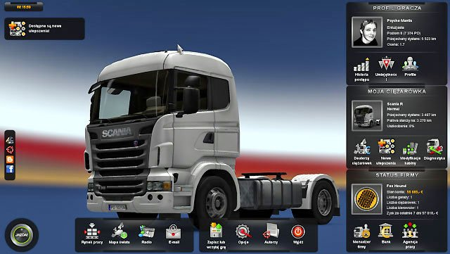 You control everything using a panel displayed by clicking on [Escape] - Main control panel | Interface - Interface - Euro Truck Simulator 2 Game Guide