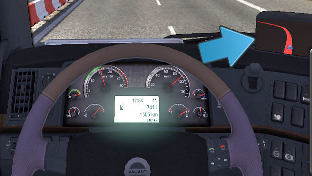 Switch between other screen to check the fuel level (in liters) and your range - Dashboard | Driving your truck - Driving your truck - Euro Truck Simulator 2 Game Guide