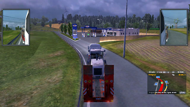 On a highway a special sign will inform you about approaching a gas station and a park space - Taking fuel | Driving your truck - Driving your truck - Euro Truck Simulator 2 Game Guide