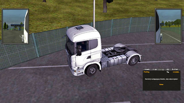 Park on such parking lot, turn off the engine ([E] by default) and go asleep ([Enter] by default) - Drivers rest | Driving your truck - Driving your truck - Euro Truck Simulator 2 Game Guide