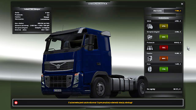 When you call the emergency road service which takes you to the car repair shop, you have to be ready for higher repair costs - Car repair shop | Repair and modifications - Repair and modifications - Euro Truck Simulator 2 Game Guide