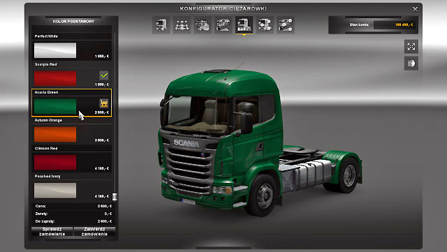 The truck customization tool offers only colors and patterns created for that model by its producer - Upgrades - Repair and modifications - Euro Truck Simulator 2 - Game Guide and Walkthrough