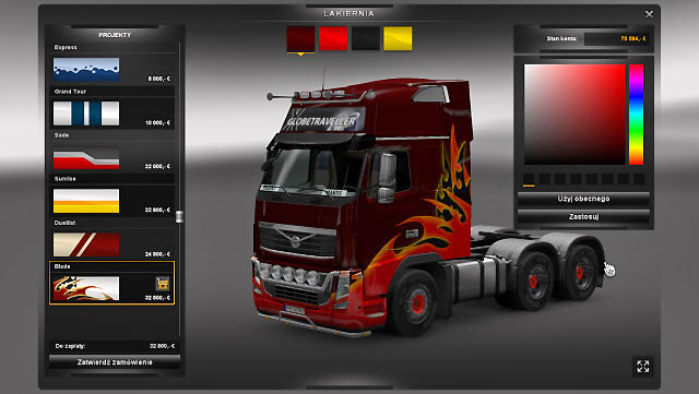Here you are not limited to colors offered by the manufacturer - Upgrades - Repair and modifications - Euro Truck Simulator 2 - Game Guide and Walkthrough