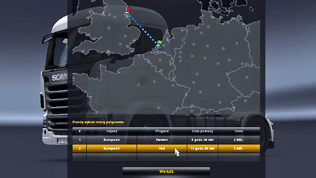 A window of available destination place will be displayed - Ports and Eurotunnel (Map) | Map - Map - Euro Truck Simulator 2 Game Guide