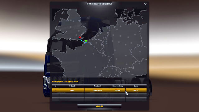 Just as in the case of ports, you will see a window where you can select your destination place - Ports and Eurotunnel (Map) | Map - Map - Euro Truck Simulator 2 Game Guide