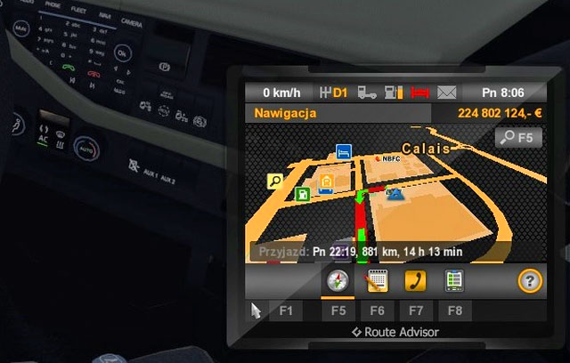 Another important element displayed in a lower right corner is the Route Advisor - Route Advisor (GPS) - Interface - Euro Truck Simulator 2 - Game Guide and Walkthrough