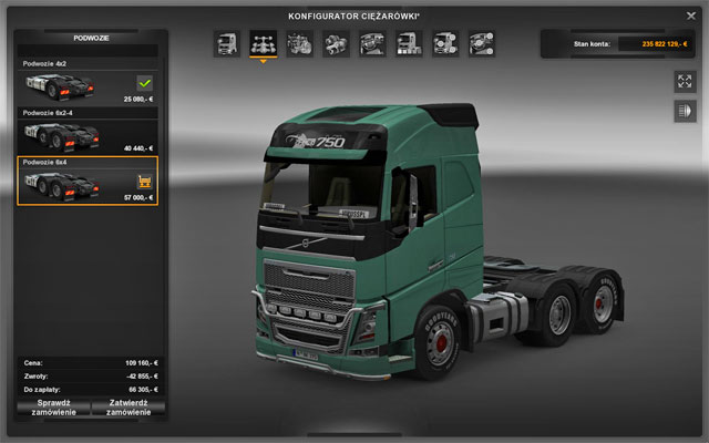The chassis is a crucial element which controls the stability and turning - Upgrades - Repair and modifications - Euro Truck Simulator 2 - Game Guide and Walkthrough