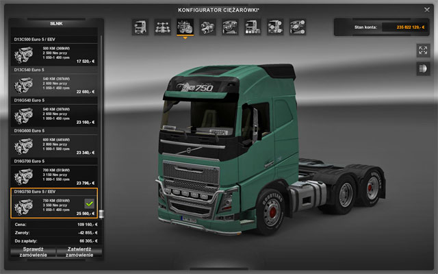 Available engines depend on a selected truck make - Upgrades - Repair and modifications - Euro Truck Simulator 2 - Game Guide and Walkthrough