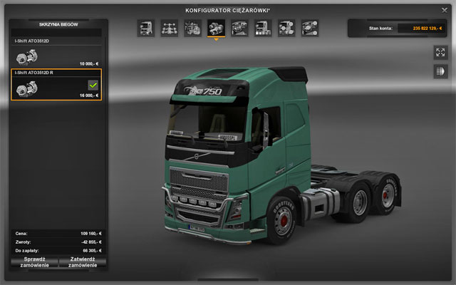 The gearbox depends on the engine you have chosen - Upgrades - Repair and modifications - Euro Truck Simulator 2 - Game Guide and Walkthrough