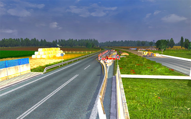 When you travel pay attention to speed limit signs which inform about potential danger - Narrowing and roadworks | Roads - Roads - Euro Truck Simulator 2 Game Guide