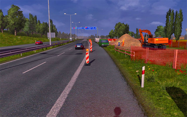 The roadworks also happen on highways bringing speed limits - Narrowing and roadworks | Roads - Roads - Euro Truck Simulator 2 Game Guide