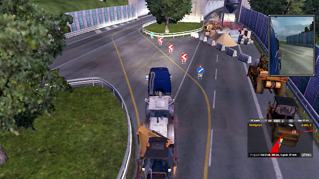 Sometimes roadworks happen even on highways - Narrowing and roadworks | Roads - Roads - Euro Truck Simulator 2 Game Guide