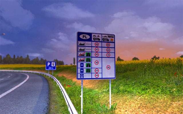 It is worth paying attention to signs informing about speed limits applicable to various types of roads - Borders | Roads - Roads - Euro Truck Simulator 2 Game Guide