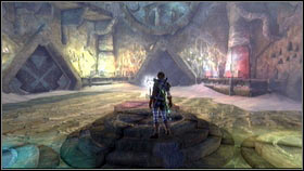 Once you kill them all, use Fire ball to light the nearby torches [1], opening the next gate - The Veiled Path - Gold Keys - Fable III - Game Guide and Walkthrough