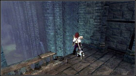 To get the next one, go up the stairs to the top of the nearby building [1] and jump down through the gap in the balustrade on the left [2] - Mourningwood - Silver Keys - Fable III - Game Guide and Walkthrough