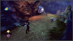 Once you reach Hobbes blocking the passage, turn right and swim along the underground river [1] to approach the enemy from behind - Leaders and Followers - p. 2 - Walkthrough - Fable III - Game Guide and Walkthrough