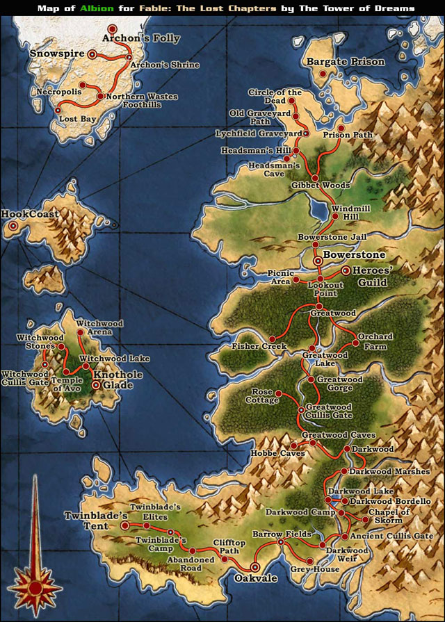 Albion World Map - Fable: The Lost Chapters - Game Guide and Walkthrough