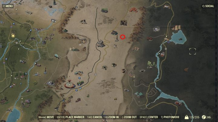 The sawmill full of wood is located near the Top of the World and was marked in the picture with a red outline. - How to get wood in Fallout 76? - FAQ - Fallout 76 Guide