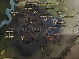 In the Ash Heap you will find a lot of bigger and smaller locations - Map of Fallout 76 - Maps - Fallout 76 Game Guide