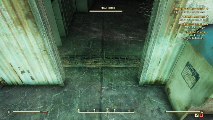 Watch out for a spiked board - jump over it or simply destroy it. - How to get Power Armor in Fallout 76? - FAQ - Fallout 76 Guide