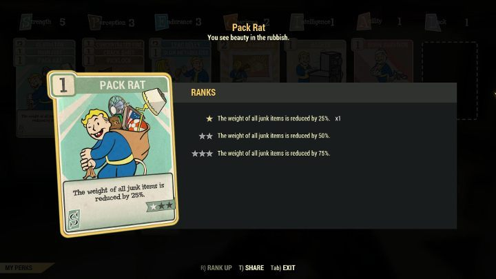 The Pack Rat Perk reduces the weight of rubbish in your inventory. - How do I increase the load capacity of my character in Fallout 76? - FAQ - Fallout 76 Guide